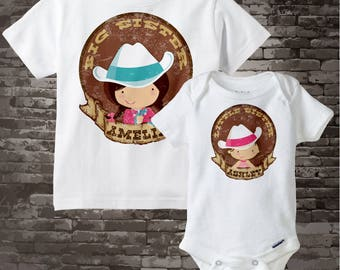 Big Sister Little Sister Shirt set of 2, Sibling Shirt, Personalized Tshirt Cute Western Cowgirls, Sprinkle Baby Shower Gift 09172014c