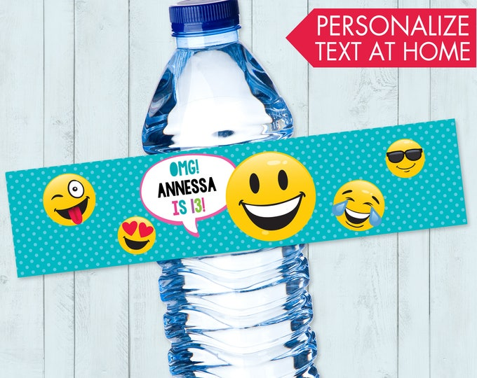 Emoji Party Water Bottle Label / Wrap - Emoji Theme Birthday Party, Emoji Party Decor | Editable Text - Instant Download PDF Printable