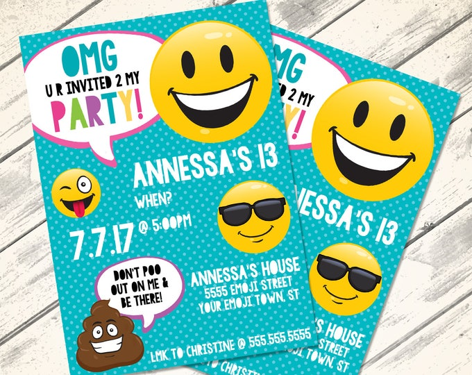 Emoji Invitations - Emoji Birthday, Emoji Party, Emoji Theme Party, Emoticon, Emojitional- INSTANT Download DIY Printable PDF