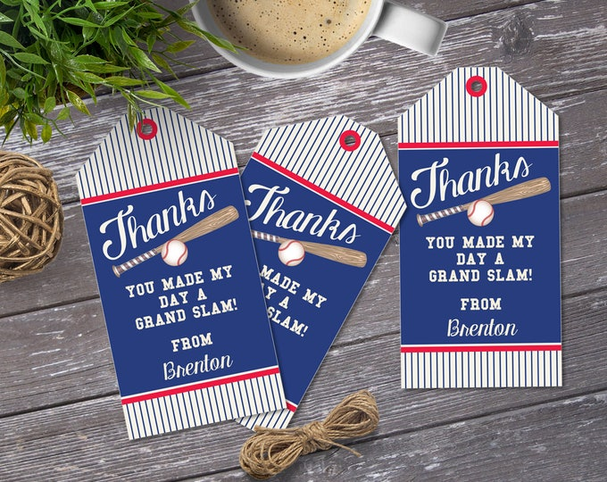Baseball Favor Tag | Little Slugger Party, Birthday, Baby Shower | EDITABLE Text - INSTANT Download Printable PDF