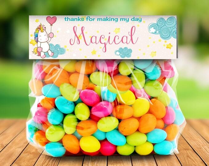 Unicorn Party Treat Bag Topper - Unicorn Birthday,Rainbow Birthday,Magical Party,Self-Editing | DIY Editable Text INSTANT DOWNLOAD Printable