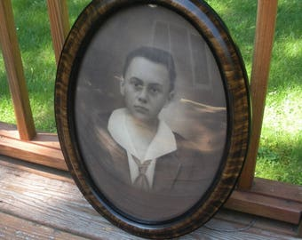 Antique Grain Painted Oval Picture Frame with Convex Glass