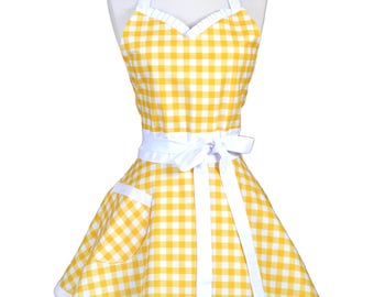 Sweetheart Pinup Womans Apron , Yellow and White Gingham Check Country Chic Cute Flirty Vintage Inspired Kitchen Apron with Pockets (DM)