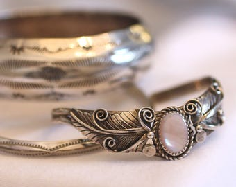 Mother of Pearl Navajo Cuff Chevron Shape White/Pastel Pink Oval Mother of Pearl Leaf & Swirl Signed LL Sterling Vintage Southwest Boho Chic