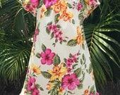 Girls Hawaiian Dress Handmade in Hawaii Kuuipo Hibiscus Orchid Flower Girl