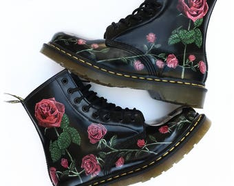 Custom Doc Martens Boots - Skulls and Roses Hand Painted