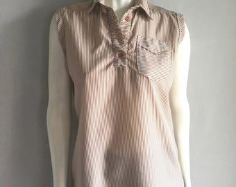 Vintage Women's 80's Sleeveless Top, Striped, Cream, Light Brown, Blouse by Toni Lynn (M)