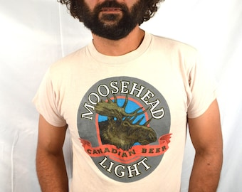 Vintage 1980s 80s Moosehead Canada Lager Beer Tee Shirt Tshirt - Another Moose is Loose