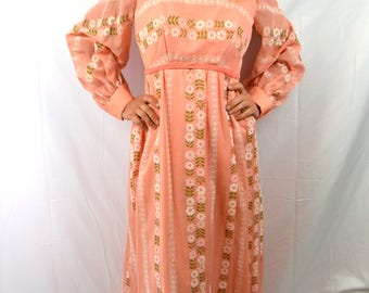 Lovely 1970s Peach Polyester Lace Maxi Dress - Jc Penney