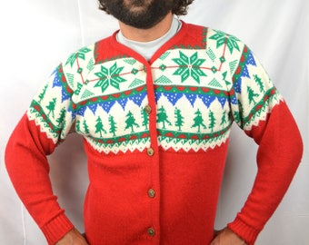Vintage Pendleton Cardigan Wool Christmas Sweater