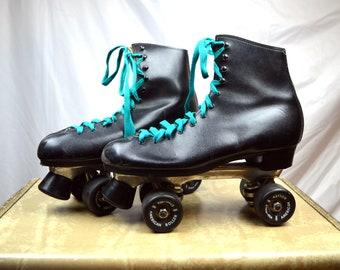 Vintage 80s Black Rollerskates Roller Skates - Dominion - Size 10