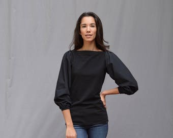 Madi Top, Cotton Poplin, Women's Top, Puff Long Sleeve, Cotton French Terry- Made to order