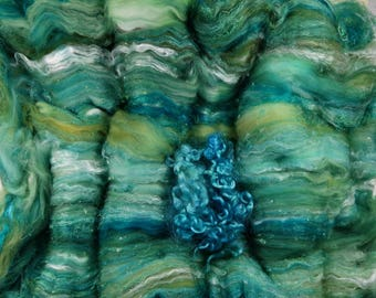 Storm Cypress Wild Card Bling Batt for spinning and felting (4.3 ounces), batt, art batt