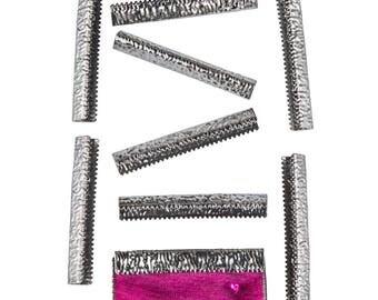 50pcs.  38mm or 1  1/2 inch - Gunmetal No Loop Ribbon Clamp End Crimps - Artisan Series