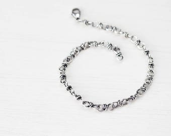 NEW bigger Sterling Silver Link Chain Bracelet, Wire wrapped handcrafted silver chain bracelet for man or woman, artisan jewelry