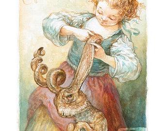 Curling Her Hare - original watercolor painting - rabbit, bath, hair care, pets, puns