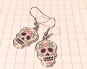 25% off sale - Earrings - Sugar Skull Earrings - Metal - Silver - Choose your color