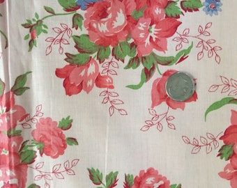 Vintage 1940s 1930s Cotton Chintz Fabric Pink Roses Floral Bouquets 36W 2Y