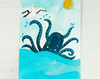 original watercolor painting illustration of an octopus in the sea with a seagul and sun