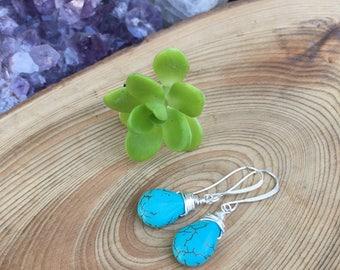 Blue Marcasite Drop Earrings, Wire Wrapped Briolette Earrings, Silver Wire Earrings, Drops, Dangle, Turquoise Blue, Bohemian Boho Gypsy
