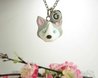 Siberian Husky necklace jewelry, Initial necklace, personalized necklace, cute unique gift, best friend gift, Husky gifts, polymer clay
