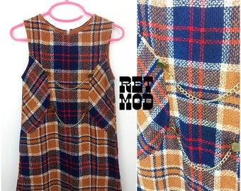 CHILD SIZE - Cute Vintage 60s Mod Blue, Brown & Red Plaid Shift Dress
