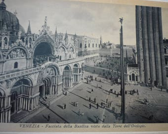 Vintage Photo - Venice - St Marks Facade of the Basilica 1928 duotone photo postcard - beautiful - gift for travelers, use for scrapbook