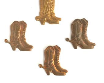4 Vintage 60s Small Pair Cowboy Boot Gold Color Vintage Findings Stampings NOS