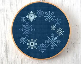 PDF Pattern - Snowflake Wreath Cross Stitch Pattern, Snowflakes Cross Stitch Pattern, Christmas Cross Stitch Pattern, Winter Cross Stitch