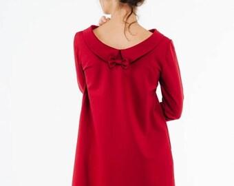 SALE - Swing dress   Red collared dress   Wedding guest dress   LeMuse swing dress