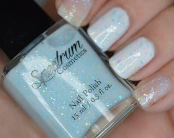 Ice Blue Crelly Polish with Iridescent and Blue Glitter Nail polish SNOW BUNNY
