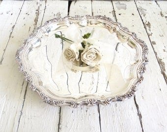 Round Silver Tray, Vintage Platter, Ornate Tray, Dining Decor, Serving Piece, Silver Plate Old Tray, Countess International Silver