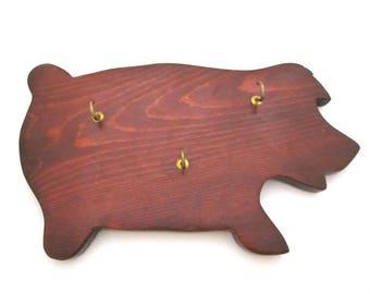 Wood PIG KEY RACK Vintage Folk Art Country Farmhouse