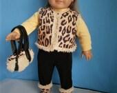 Sherpa Vest, Purse, Boots handmade for American Girl Size Dolls, Animal Print reversible vest set for 18 inch dolls