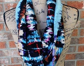Gauzy Tye Dye Turquoise, Black, Purple and Red Lightweight Infinity Scarf Gift Under 20 Dollars