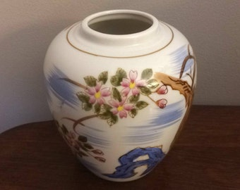 Vintage Oriental Blossoming Cherry Tree By Stream White and BlueWhite Vase Handcrafted in Japan Action-Lobeco
