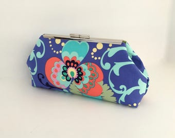 Floral clutch, blue clutch, summer clutch, preppy clutch, colorful clutch, bridesmaid clutch in fabric by Amy Butler
