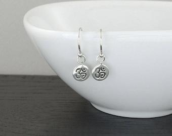 Om Earrings -  Sterling Silver Yoga Earrings - Silver Dangle Earrings, Trendy Earrings, Gift for Girlfriend, Gift for Mom, Gift for Women