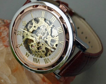 Premium Mechanical Wrist Watch, Brown Leather Wristband, Rose Gold, Silver & Gold Watch, Men's Watch, Engravable - Item MWA194cp