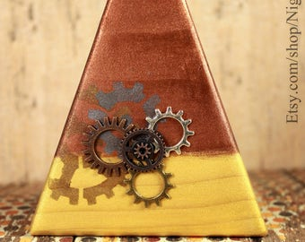 Metallic Wood Steampunk Candy Corn Halloween Decor