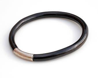 Vintage Black Coral Bangle Bracelet - Large Size