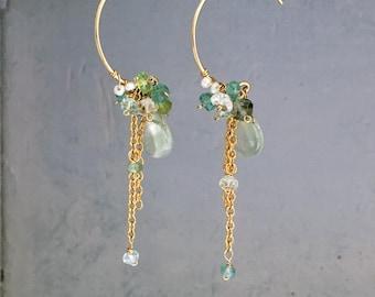 Emerald Earrings - Emerald Hoop Earrings - Emerald Cluster Earrings - 14kgf Green Gemstone Hoop Earrings - Gold Hoop and Chain Earrings