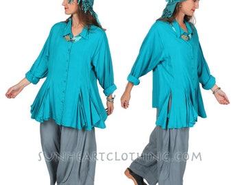 Sunheart Taos Ruffle Shirt Blouse Teal Top Boho Hippie Chic Resort Wear Casual Womens Wear Sml-2x