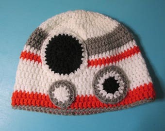 Star Wars Inspired BB-8 crocheted hat Adult Size in orange, gray, white and black Ready To Ship!