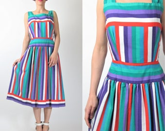 1980s Rainbow Dress Victor Costa Colorful Sundress Cotton Striped Dress 50s Style Dress Bright Fit And Flare Retro Pinup Dress (S) E7067