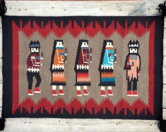 Vintage Southwestern Rug Native American Style, Woven Wall Hanging, Southwestern Decor, Small Rug, Accent Rug, Bohemian Decor, Tribal Rug