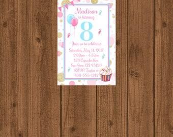 8th Birthday Party Invitation, 8th Birthday, Eighth Birthday Invite, Girl Birthday Invitation, Pink and Gold Birthday Invite, Cupcake Invite