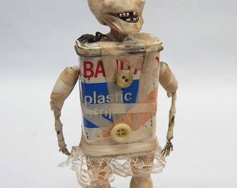 Halloween Assemblage Art Doll Mummy Skeleton Mummelita