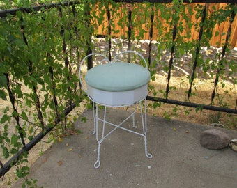 """Awesome Vintage Shabby Chic White Metal Vanity/Parlor Chair Stool w/Cushioned Green Seat  and Twisted Feet that measures 23"""" High Overall ~"""