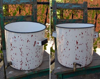 "Cute Vintage White & Red Splatter Enamelware Bucket/Pot with Brass Spigot measuring 12"" x 12.5"" ~ Farmhouse Cottage Garden Planter Decor ~"